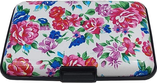Aluminum Wallet RFID Blocking Slim Metal Credit Card Holder Hard Case Floral New