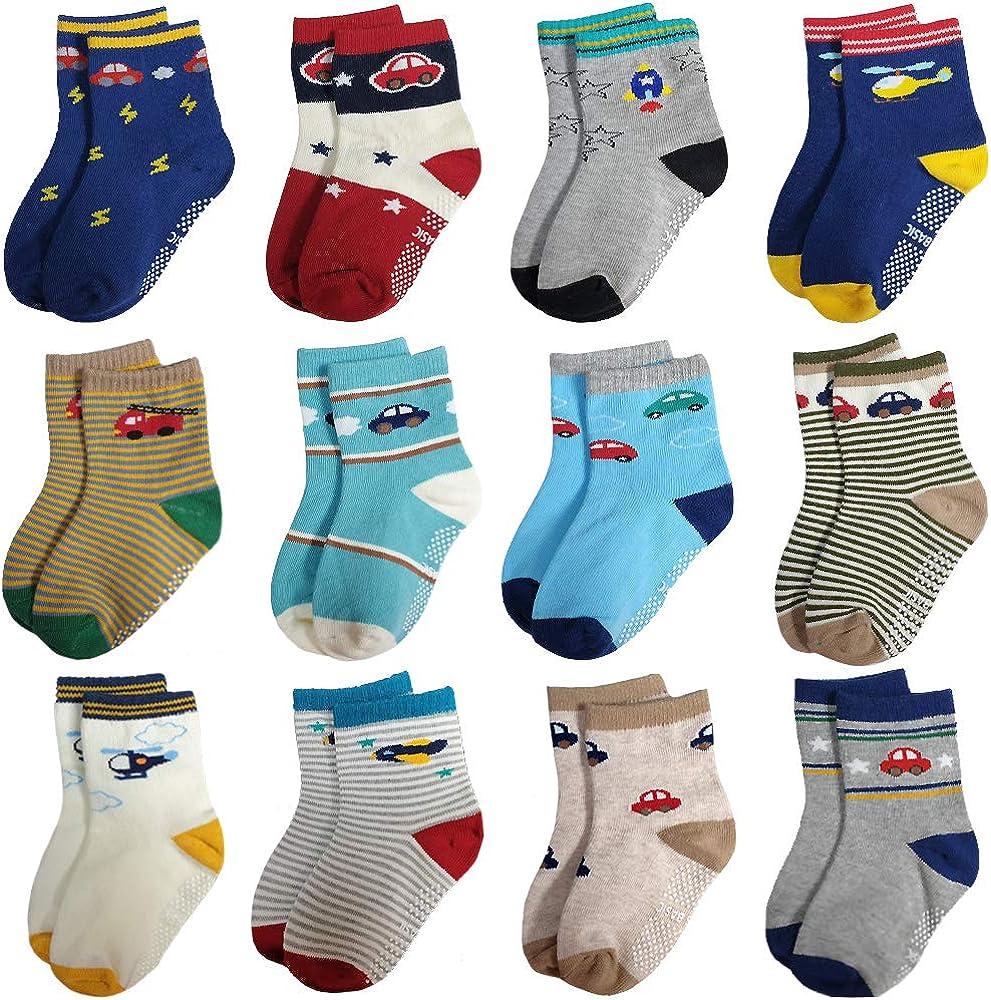 RATIVE Unisex Anti Slip Non Skid Slipper Crew Socks For Baby Infant Toddler Kids Boys Girls