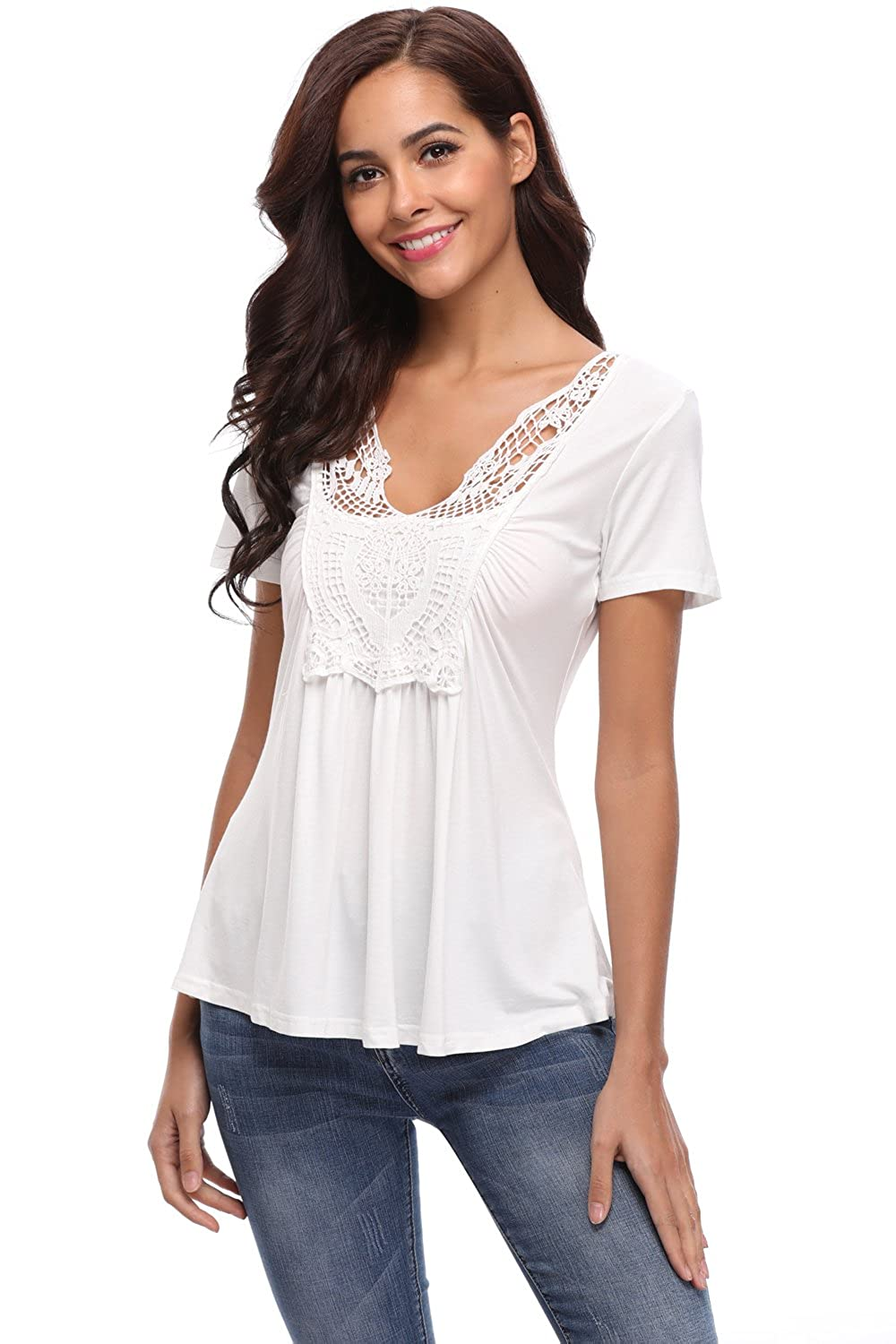 c1a9b409eb7 MISS MOLY Women's Summer Peplum Tops Deep V-Neck Low Cut Ruched Front Short  Sleeve Ruffle Blouse(XS-4XL) at Amazon Women's Clothing store: