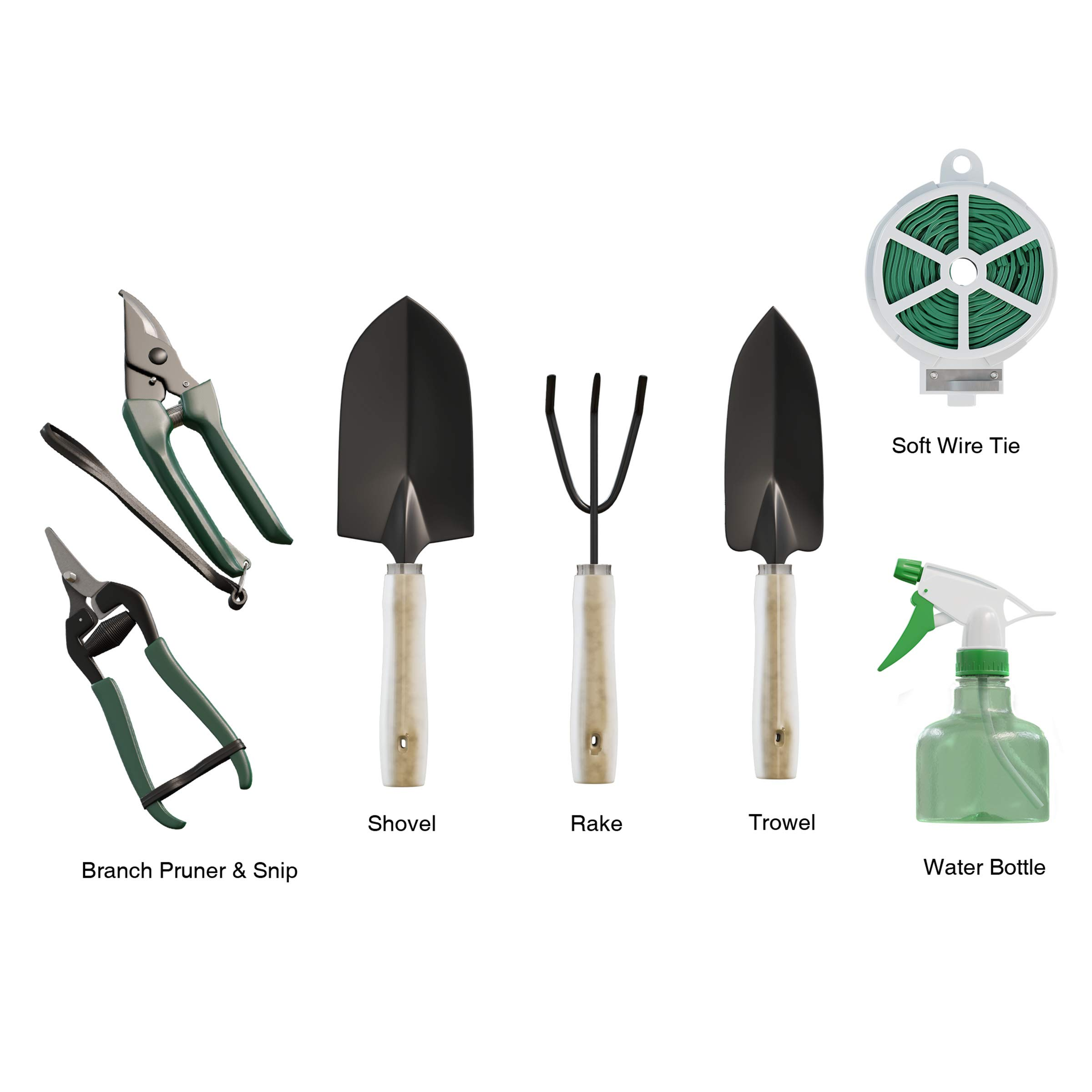Pure Garden 8 Piece Garden Tote and Tool Set- Gardening Hand Tools and Supply Essentials Kit Includes Storage Bag, Rake, Shovel, Trowel, More by Pure Garden (Image #5)