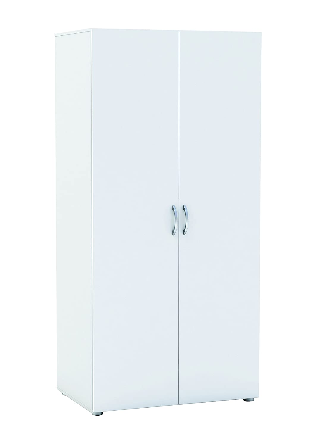 Zip2 2-Door Wardrobe with Hanging Rail and Shelf, Chip Board, Pearl White, 80.4 x 51.5 x 166.6 cm Meubles Demeyère 475057 F00361501102_WHITE
