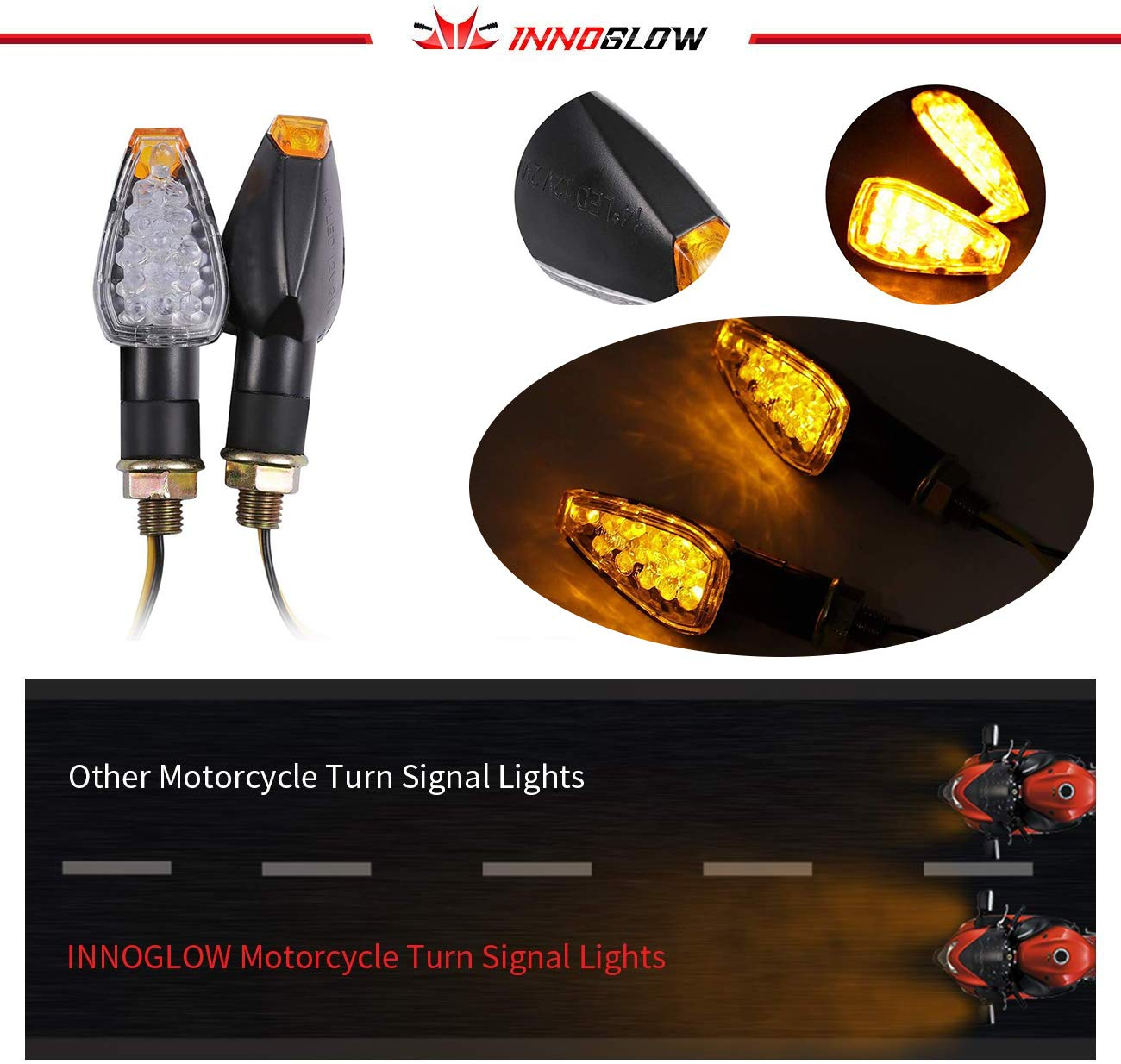 INNOGLOW Motorcycle Turn Signals 2pcs LED Bulb Indicators Motorbike Blinkers Amber Lamp Lights Fits for Choppers Cruisers Touring Motorbike