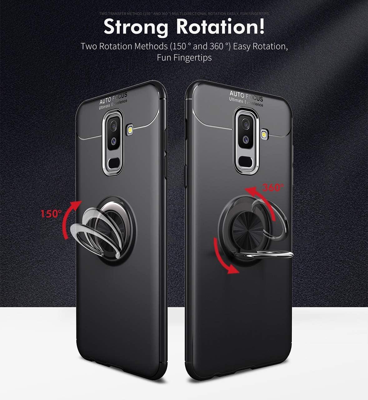 HICYCT Cover Samsung Galaxy A6 Plus 2018,Custodia con Anello Supporto Adatto per Supporti Magnetici da Auto,Custodia in Silicone Morbido Compatibile Per Samsung Galaxy A6 Plus 2018