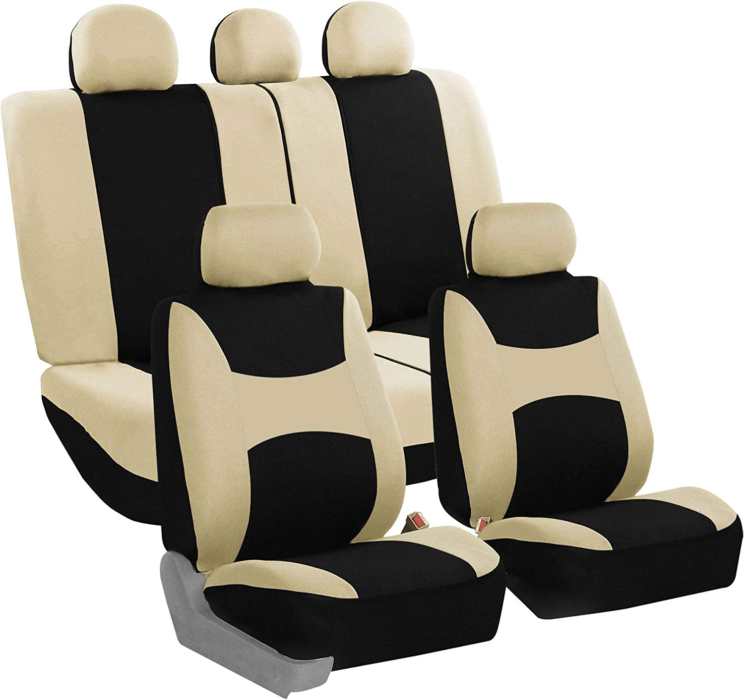 FH Group FB030BEIGEBLACK115 full seat cover (Side Airbag Compatible with Split Bench Beige/Black)