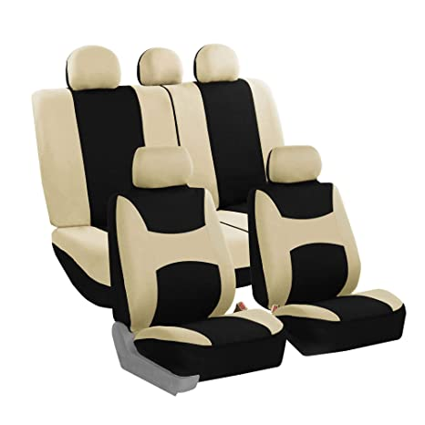 Outstanding Fh Group Fb030Beigeblack115 Full Seat Cover Side Airbag Compatible With Split Bench Beige Black Dailytribune Chair Design For Home Dailytribuneorg