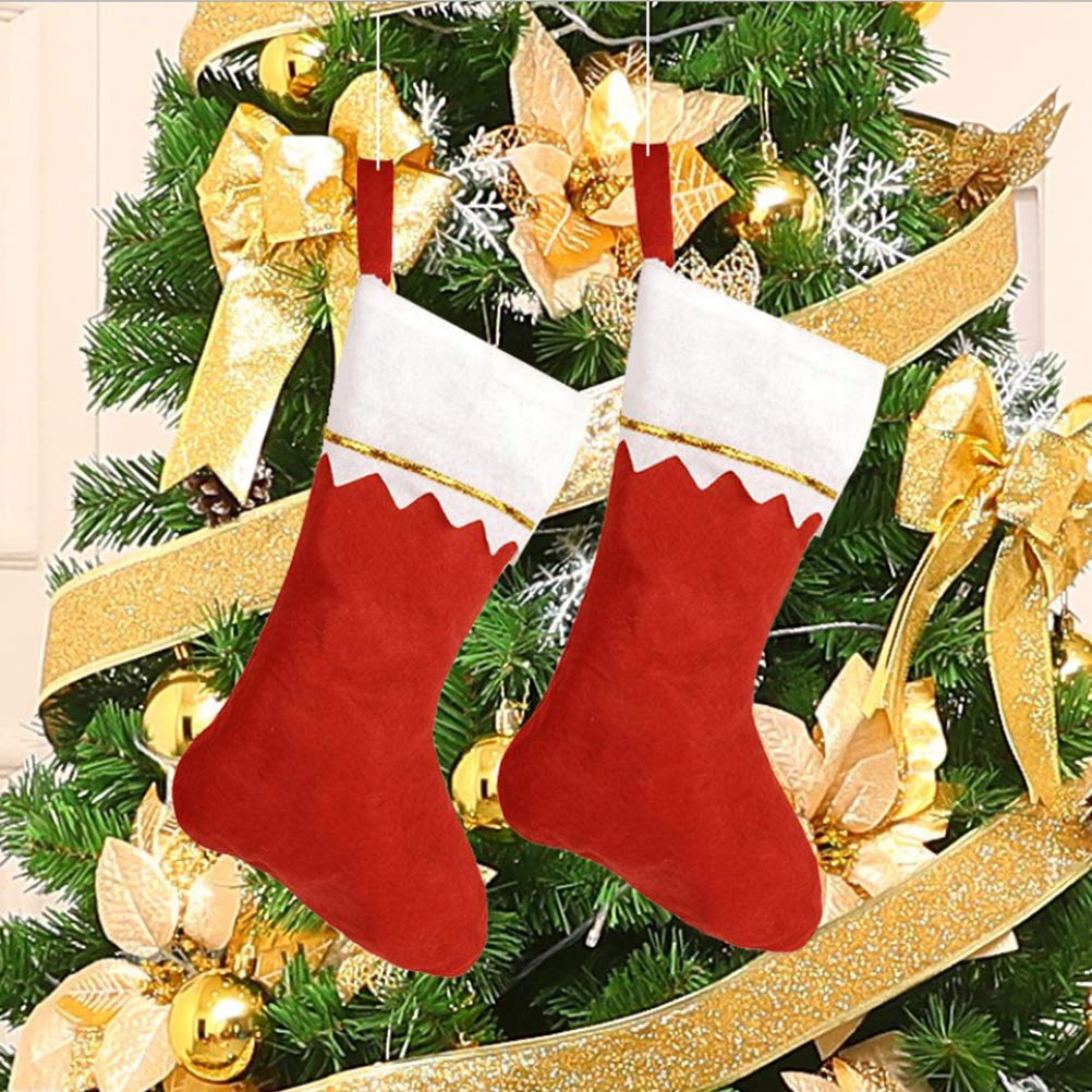 BESPORTBLE Christmas Stockings Kits Xmas Socks in Bulk 12Pack Gift Candy Bags Tree Decoration Hanging Ornament Red