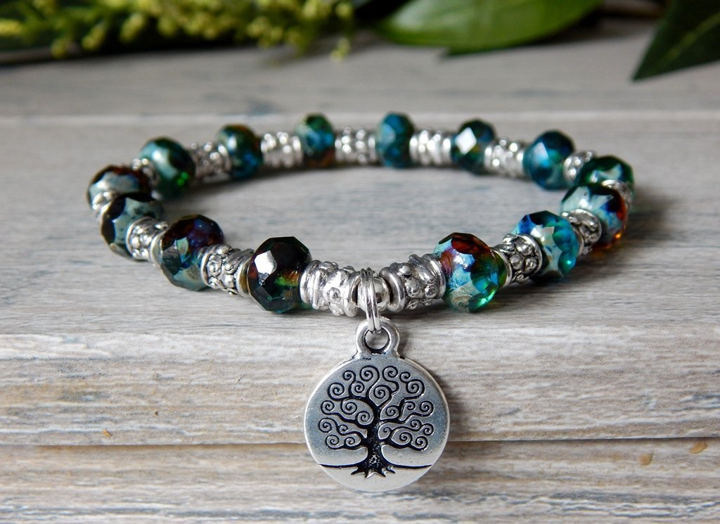 Tree of Life Beaded Bracelet in Teal, Topaz and Silver Nature Jewelry Boho Style