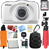 Nikon COOLPIX W100 13.2MP 1080P Digital Camera White (26515) + 32GB Class 10 UHS-1 SDHC Memory Card + Accessory Bundle