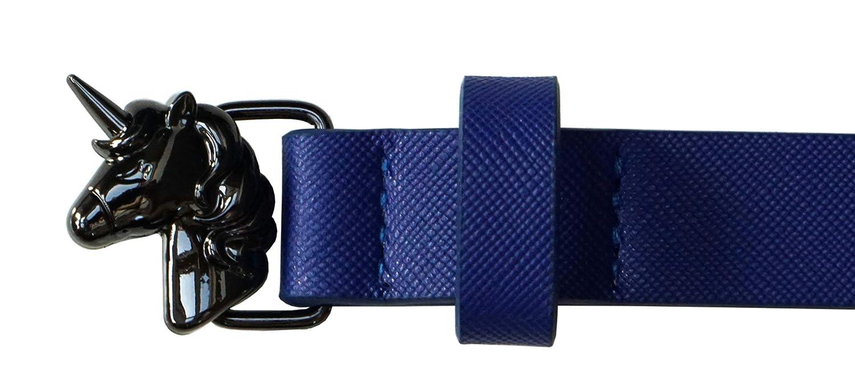 maternelle, primaire - 4-8 ans, tour de hanches 47-62 cm Ceinture enfant Licorne bleu fonc/é pour fille avec boucle de licorne
