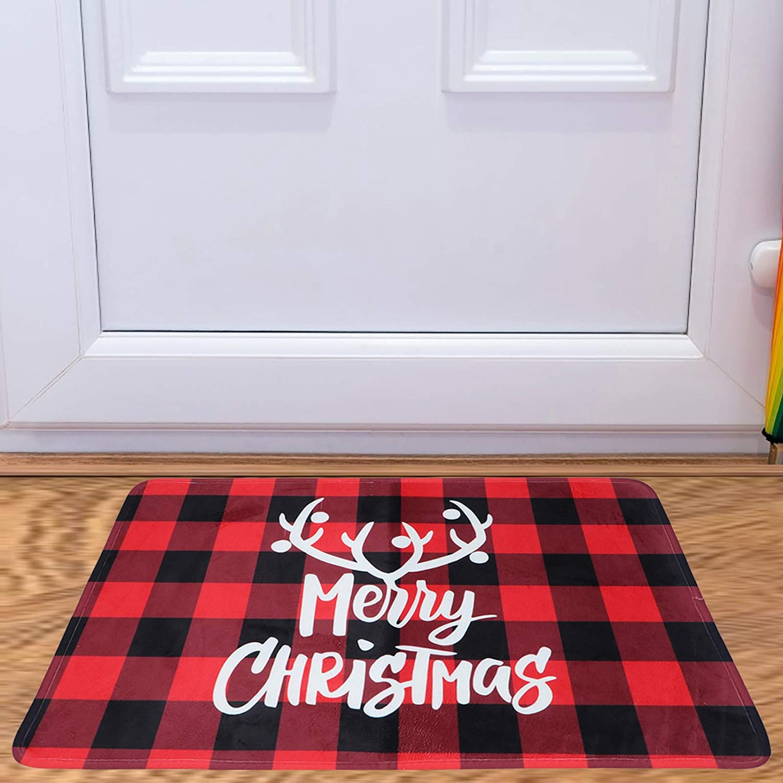 Olgaa Floor Mat Buffalo Plaid Carpet Floor Non Slip Absorbent Welcome Doormat Christmas Valentines Low-Profile Floor Mat for Indoor Outdoor Home Garden Ad-5