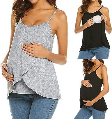 QinMM Camiseta de Tirantes Lactancia para Mujer Maternidad de Doble Capa, premamá Blusa Tops sin Mangas: Amazon.es: Ropa y accesorios