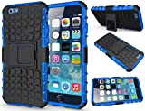 FinestBazaar Shockproof Builder Defender Tough Hard Heavy Duty Armour Back Case Cover Pouch With Stand [ For Apple iPhone 5 / 5s / Se in Blue ] + Free Screen Protector