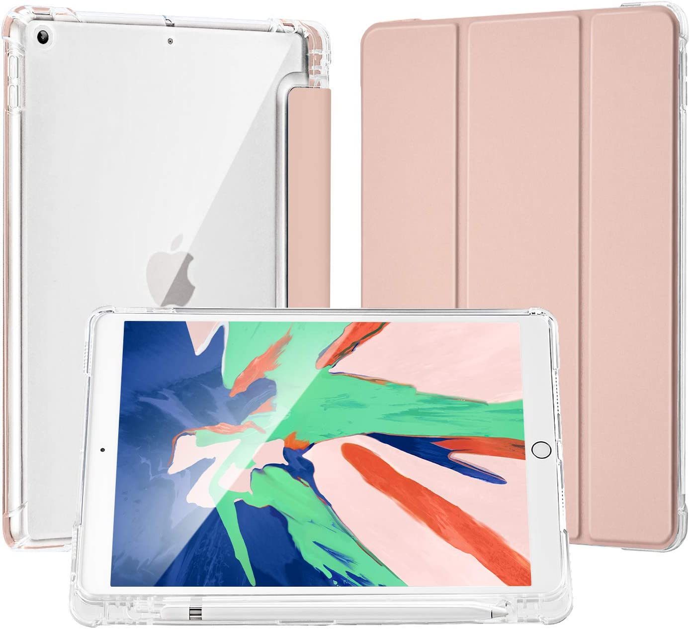 LovRug Compatible for iPad 8/7th Generation Case(2020/2019), iPad 10.2 Case with Apple Pencil Holder,Light Weight Soft TPU Translucent Frosted Back Smart Cover Cases [Full Protective] (Rose Gold)