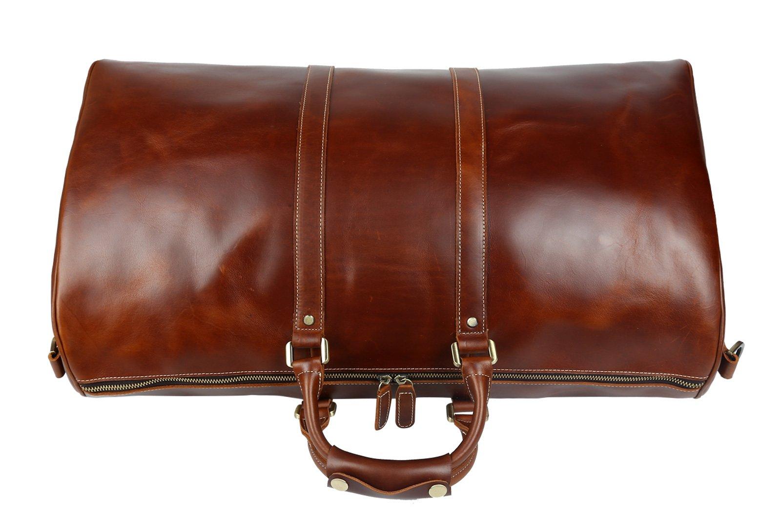 Huntvp Mens Leather Travel Duffel Bag Vintage Weekender Carry On Brown Luggage Bag by Huntvp (Image #4)