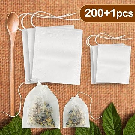 Hulubb filtre à thé Sac jetable 200 pièces avec cuillère en bois avec cordon d'étanchéité vide papier en vrac Fleur Fruits thés chinois Herbal