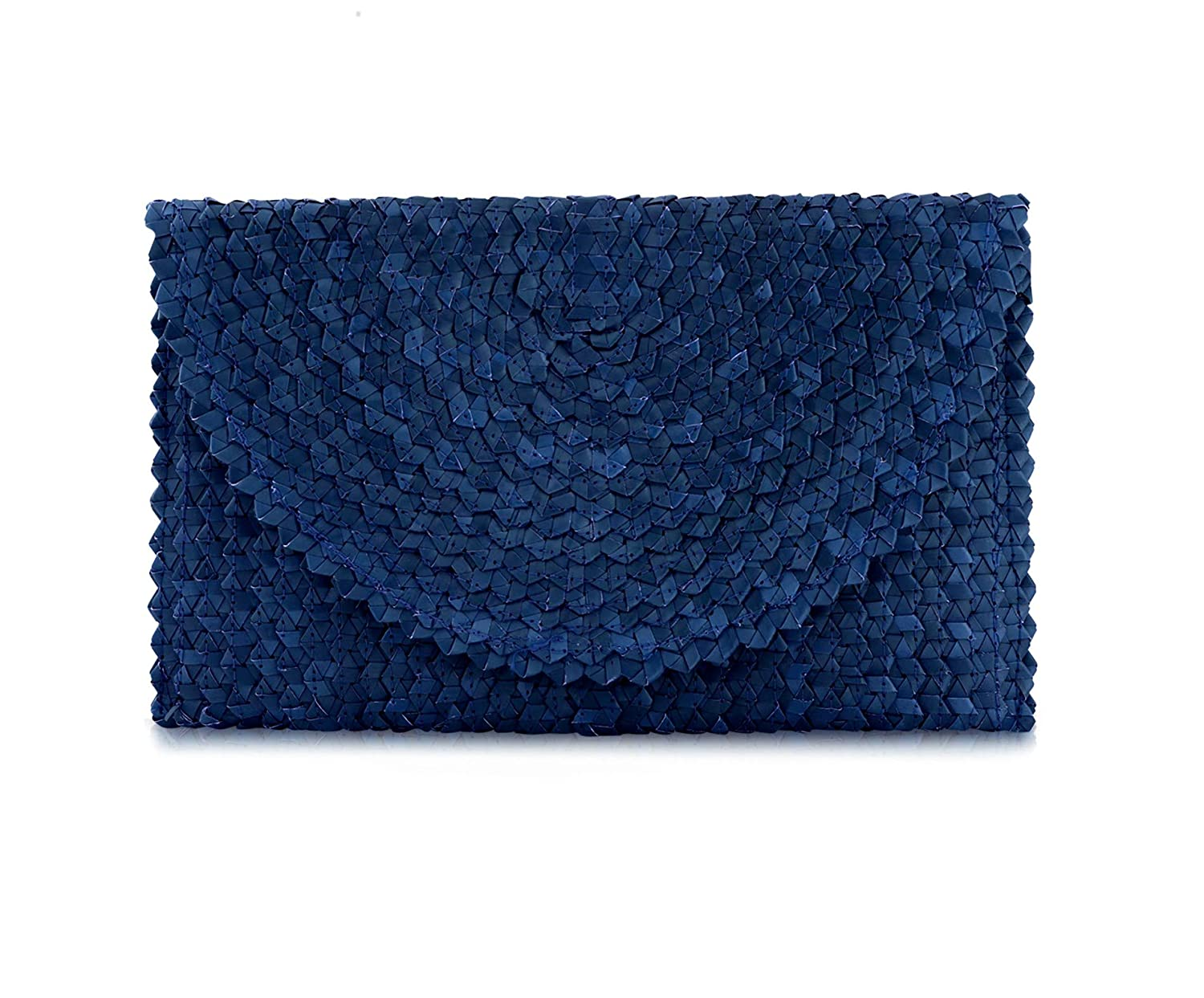 bluee Women Handbag Balinese Woven Straw Clutch