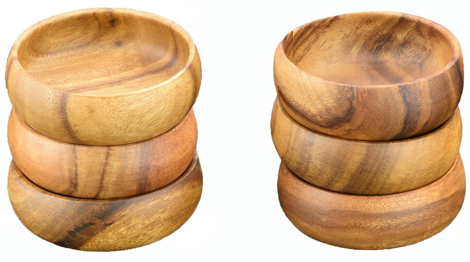 Acaciaware Acacia Wood Round Salad Bowls, Dipping and Nut Bowls, 6-inch D by 3-inch, Set of 6
