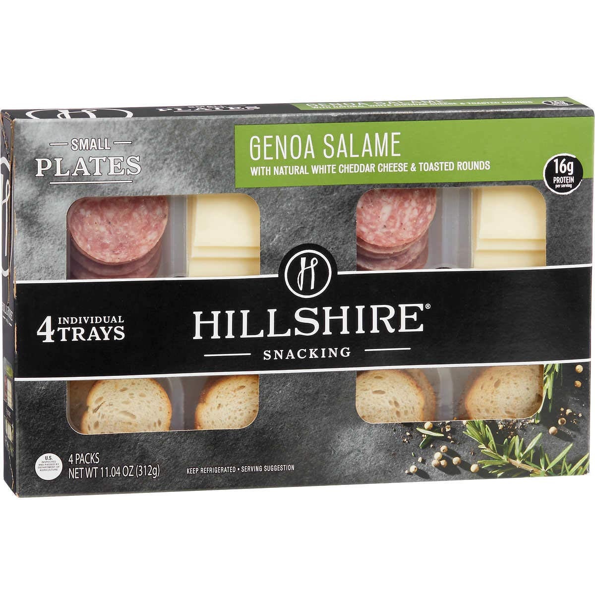 Hillshire Snacking Plates, White Cheddar and Genoa Salame, 11.04 oz (3 Pack)