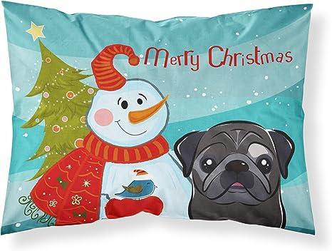 Large Carolines Treasures BB1830PILLOWCASE Snowman with Dalmatian Fabric Standard Pillowcase Multicolor