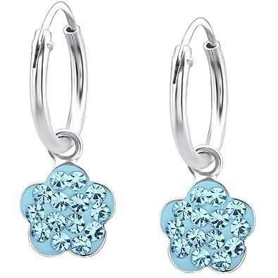 Ohrringe Creolen Blume mit Kristall Blau 925 Silber Kinderohrringe