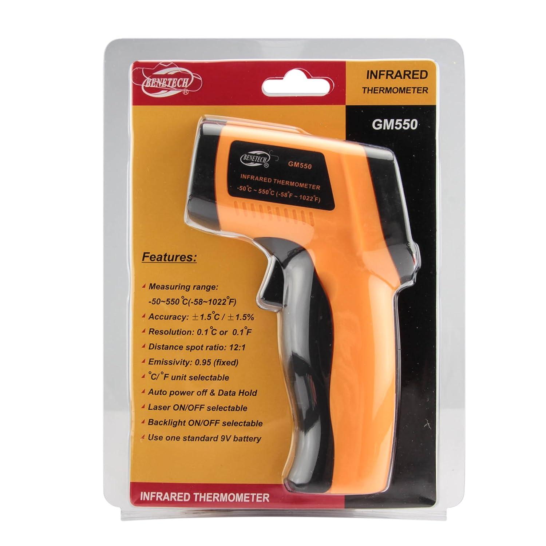-50~550oC Sensor LED Backlight Laser Pointer Measurement GM300 Allytech Non-contact IR Infrared Digital Thermometer Temperature Gun -58~1022/°F Yellow//Black