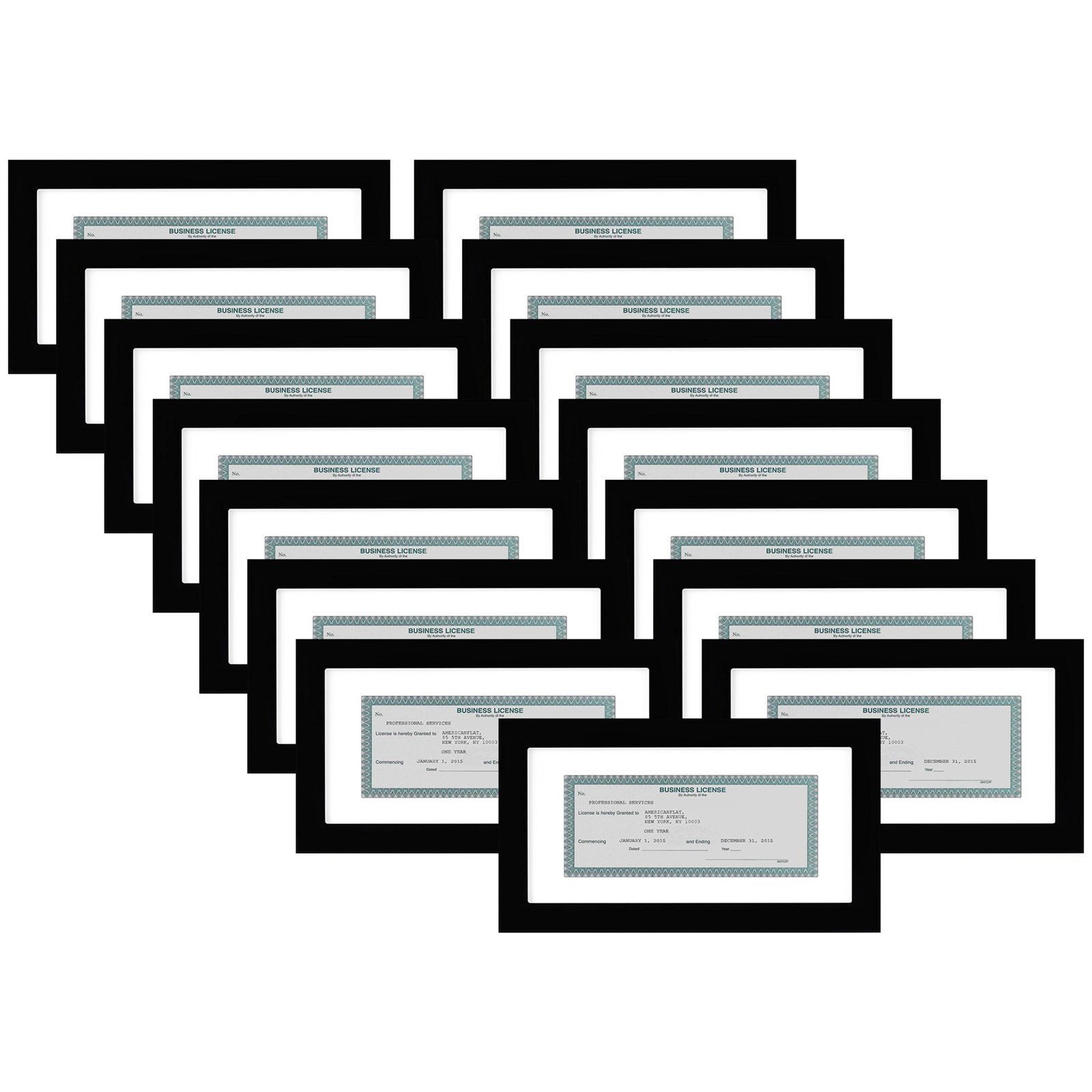 Americanflat 15 Pack - Business License Frames - Made for Business Licenses Sized 3.5x8 Inches with Mat or 5x10 Inches Without Mat - Made for Standard Business Licenses, Real Estate Licenses