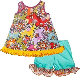 product image for Cheeky Banana Little Girls Crescendo Swing top & Ruffle Shorts Aqua/Multi