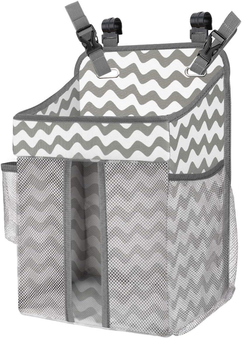 Zooawa Bolsa de Pañales de la Cama de Bebé Colgante para Almacenamiento de Ropa de Cama, Organizador de Pañales, Portátil, Plegable para Cuna de Bebé de Almacenaje Multiuso - Raya Gris
