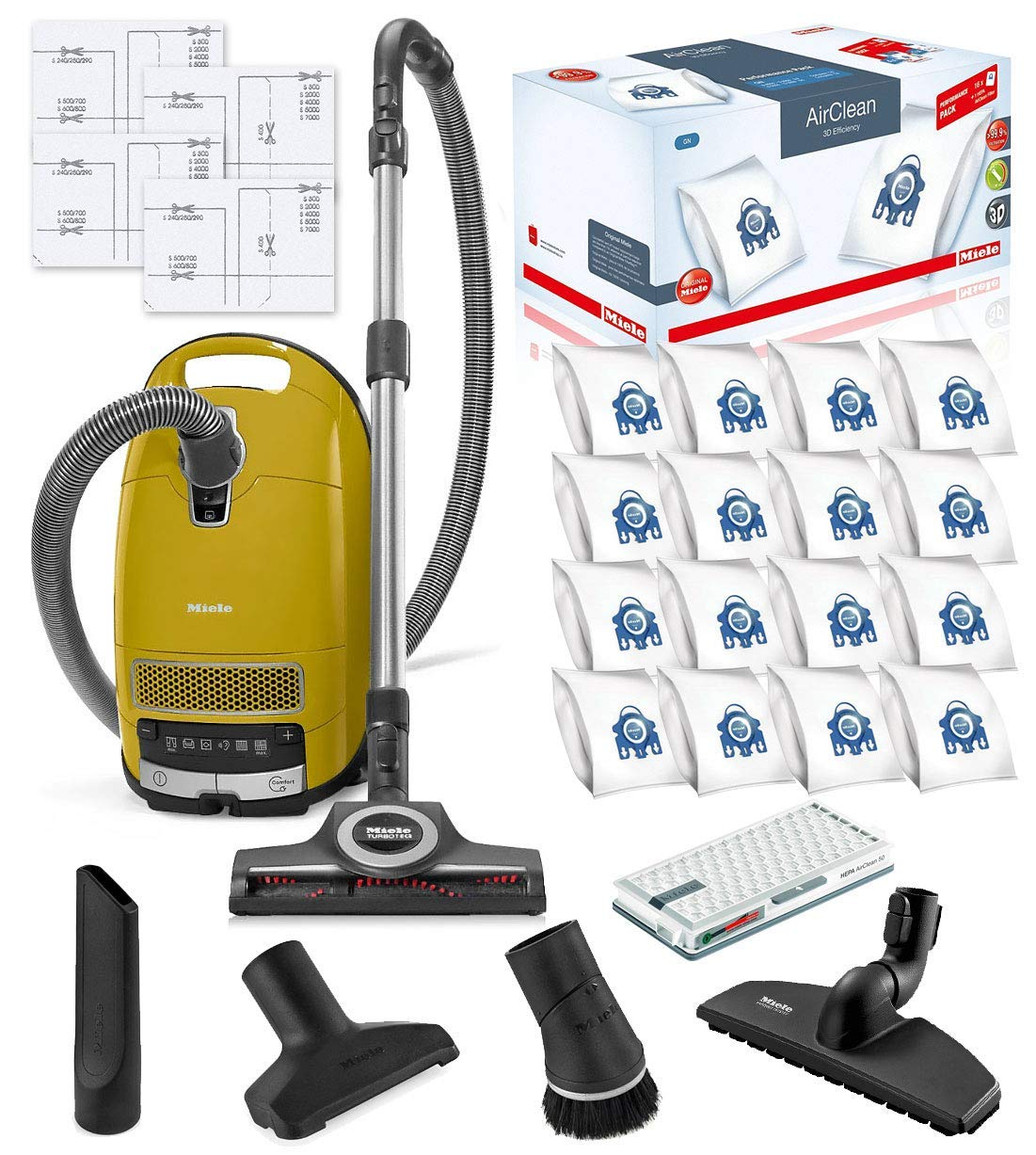 Miele Complete C3 Calima Canister HEPA Vacuum Cleaner + STB 305-3 Turbobrush Bundle - Includes Miele Performance Pack 16 Type GN AirClean Genuine FilterBags + Genuine AH50 HEPA Filter