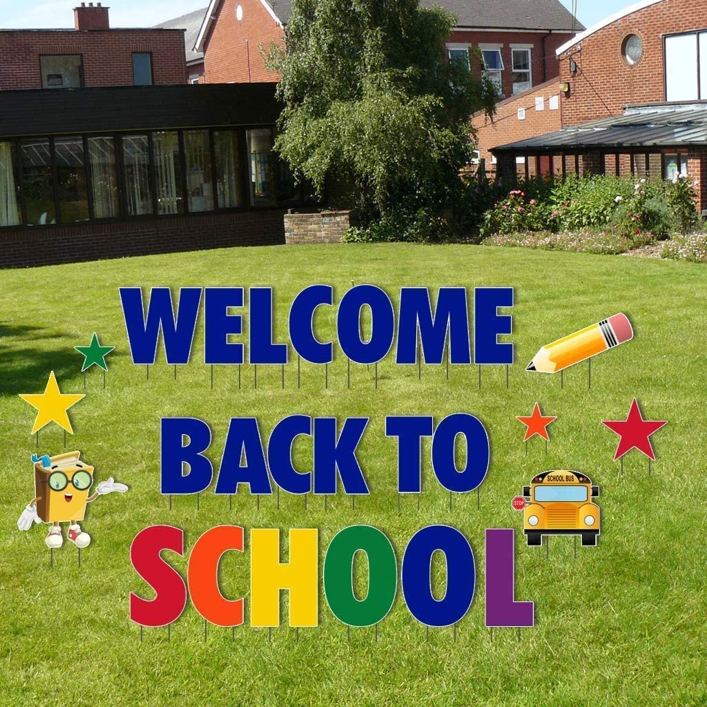 VictoryStore Yard Decorations Welcome Back to School Giant Yard Letters 26pcs Includes Stakes 12353