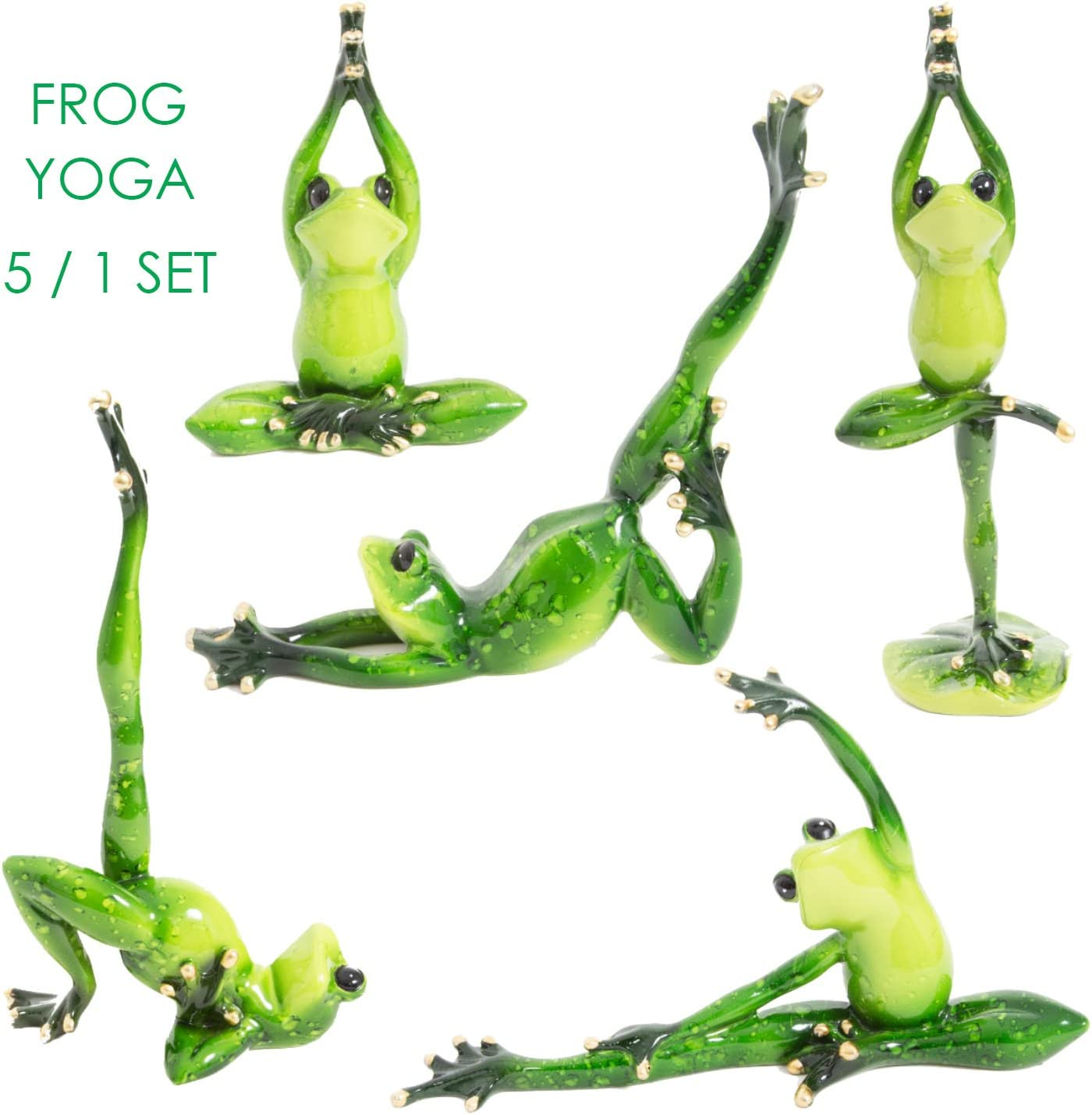 WitnyStore Yoga Frog Team Figurines - Collectible Animal Art - Set of 5 Stucco Ceramic Miniature Hand Made and Painted Vintage Table Decor Perfect for Gifts and Souvenirs