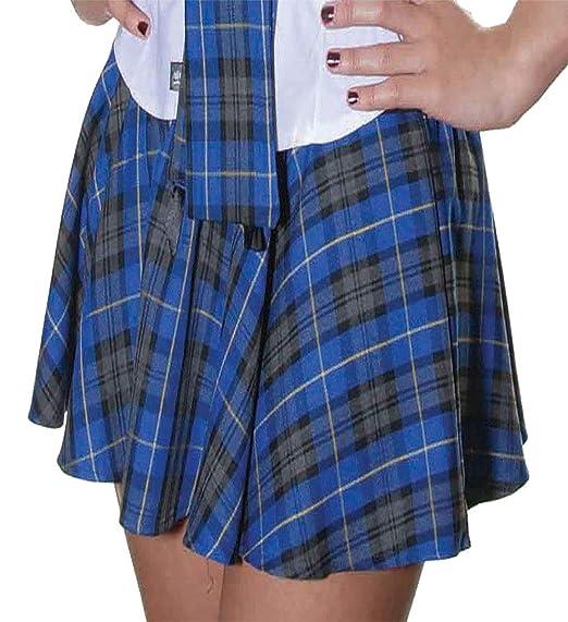 Crazy Chick Mini Mujer Falda Tartán Corto Skater Micro: Amazon.es ...