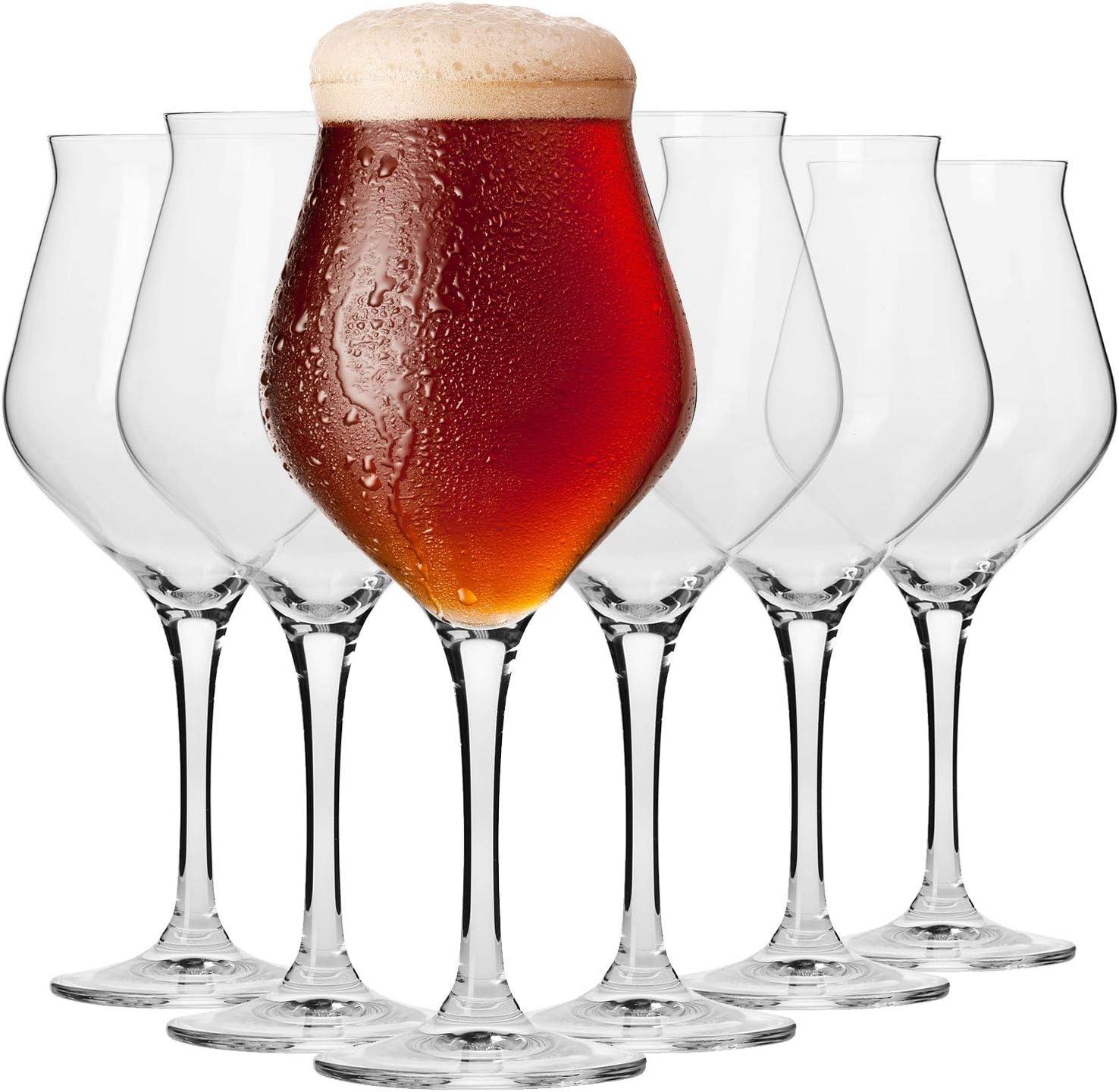 Krosno Copas de Cerveza   Conjunto 6 Piezas   420 ML   Avant-Garde Collection Uso en Casa, Restaurante y en Fiestas   Apto para Microondas y Lavavajillas