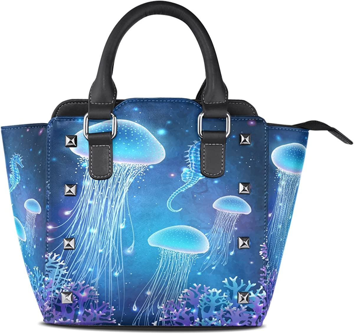 Jennifer PU Leather Top-Handle Handbags Magic Glowing Jellyfish Seahorse Underwater Single-Shoulder Tote Crossbody Bag Messenger Bags For Women