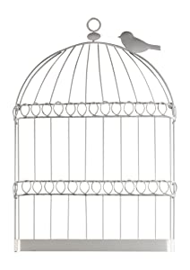 Sadie & Scout Chelsea - White Wire Birdcage Wall Décor