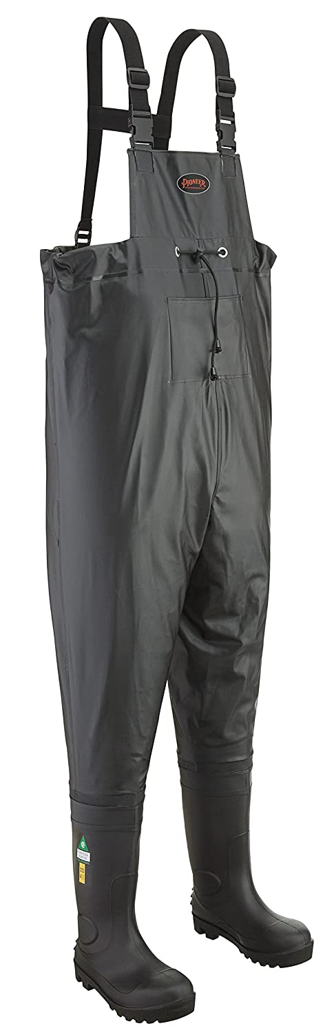 Pioneer V4720470-10 Heavy Duty Steel Toe Chest Wader, CSA Class 1, Black, 10