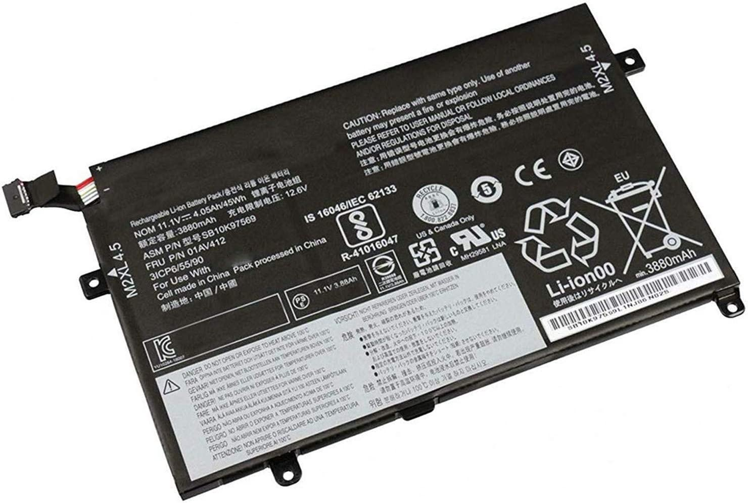 YXKC Batterymarket 01AV411 01AV412 Replacement Battery Compatible with Lenovo Thinkpad E470 E470C E475 SB10K97568 Serie - 10.95V 45Wh 4.11Ah