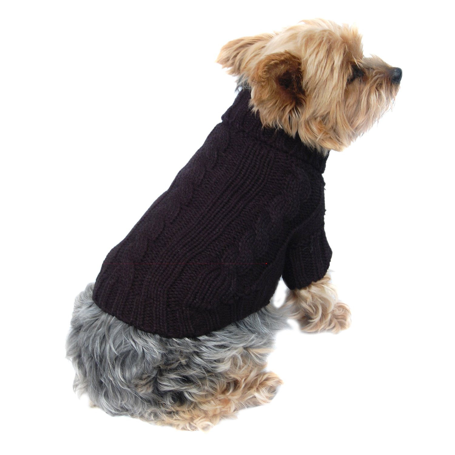 Anima Black Classic Cable Knit Dog and Pet Sweater, X Small