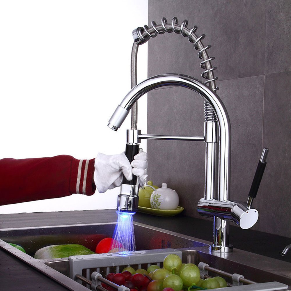 Commercial LED Kitchen Sink Faucet With Pull Down Sprayer Pre-Rinse Device Spring Swivel Spout Mixer Tap High Arc Mixer Taps Solid Brass