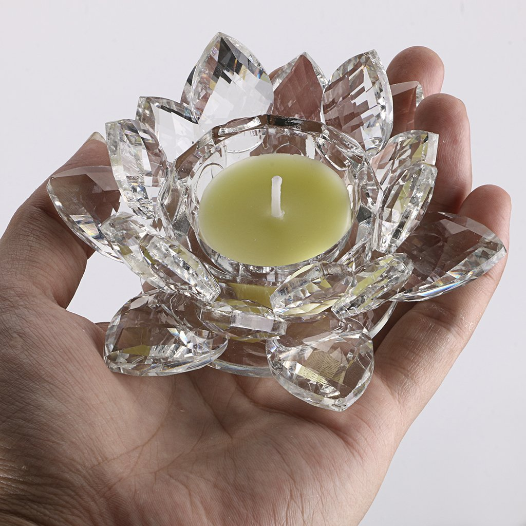 OwnMy 4.5 Inch Crystal Lotus Candle Tealight Holder, Glass Candle Lamps Holder Night Light Candlestick with Gift Box for Altar windowsill Home Decor Christmas Wedding Party (4.5 Inch Clear)