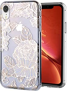WALAGO iPhone XR Case Clear Design Shiny Gold Foil Roses Flower for Girls Flexible Bumper TPU Soft Rubber Silicone Cover Phone Case for iPhone XR 6.1 inch