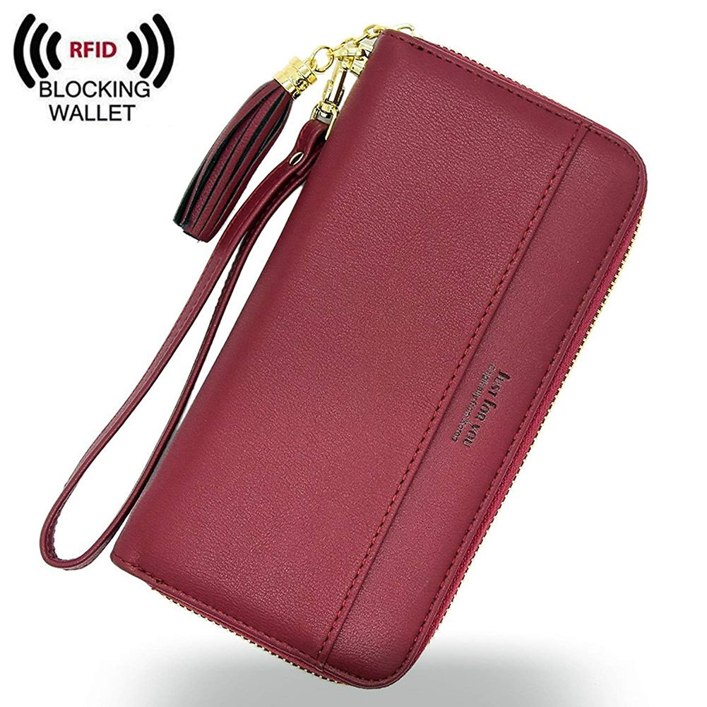 IFUNLE Womens RFID Blocking Soft PU Leather Zip Around Long Wallet Phone Case Wallet Change Card Holder Coin Zipper Pocket Travel Purse (Red)