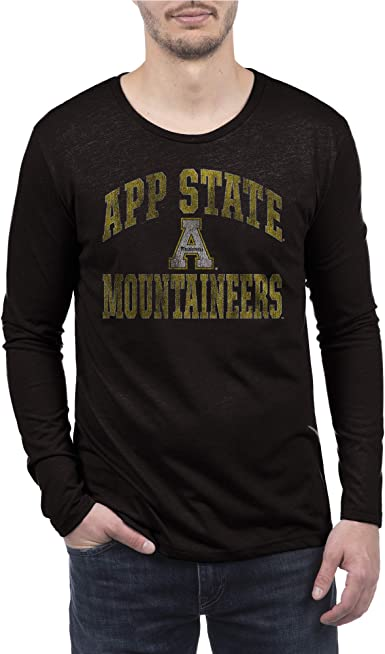 Top of the World NCAA Mens Modern Fit Premium Tri-Blend Long Sleeve Gray Heather Distressed Mascot Tee