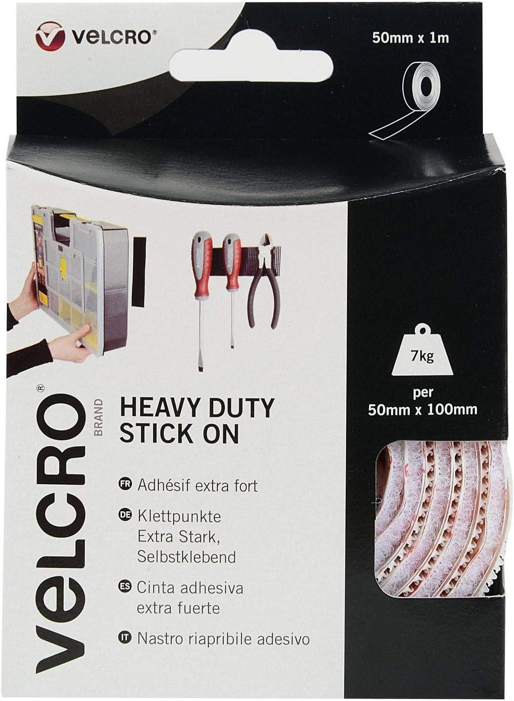 2 x VELCRO Brand Heavy Duty Stick On Self Adhesive Strips 4 x 50mm x 100mm