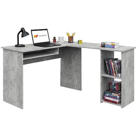 COMIFORT Escritorio, Mesa de Ordenador, Forma L, 120/140x40x75 cm (Stone)