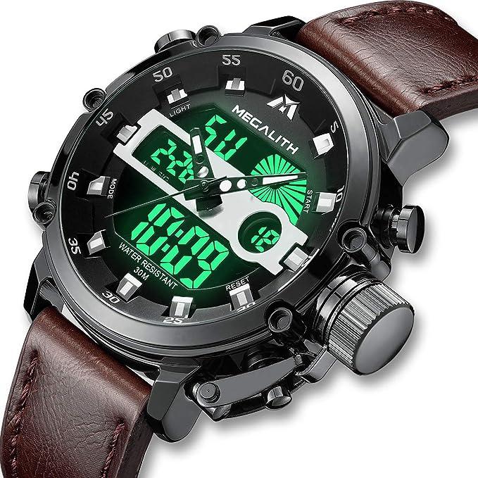2e9dfdaf26a5 Relojes Hombre Reloj Militar Deportivos Digital Impermeable LED Cronometro  Calendario Fecha Electrónico Reloj Grandes de Pulsera