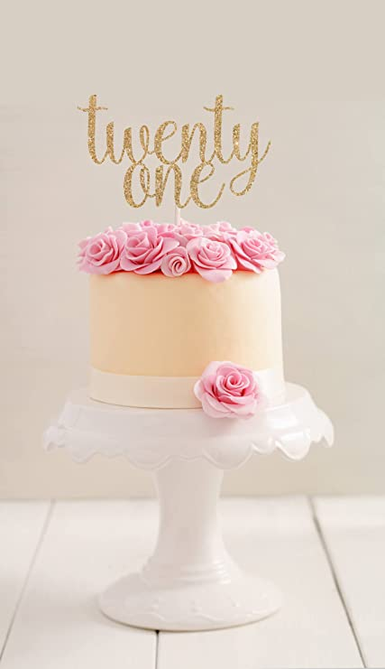 Gold Glitter Twenty One Cake Topper 21st Birthday First