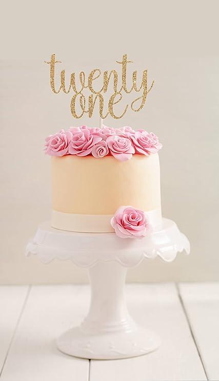 Gold Glitter Twenty One Cake Topper 21st Birthday First