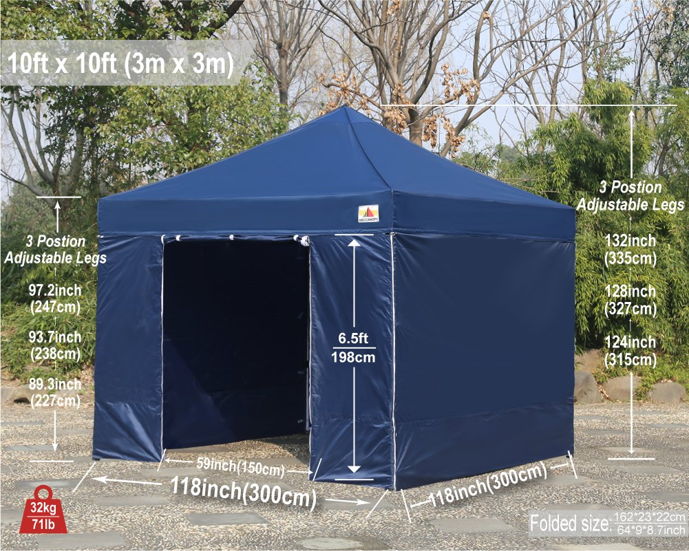 AbcCanopy Commercial 10x10 Instant Canopy Craft Display Tent Portable Booth Market Stall with Wheeled Carry Bag & Full Walls , Bonus 4x Weight Bag & 10ft Screen Wall & 10ft Half Wall (NAVY BLUE) by abccanopy (Image #9)
