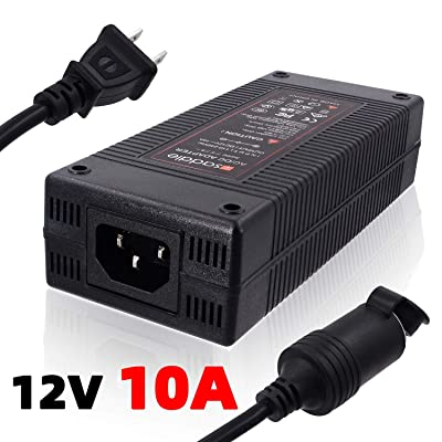 iSaddle 110V AC to 12V 10A DC Power Converter - 110V-240V AC Wall Plug to 12V DC Car Cigarette Lighter Socket Transformer/w Built-in Fan for Car Vacuum Air Compressor Fridge Power Supply Adapter 120W: Automotive